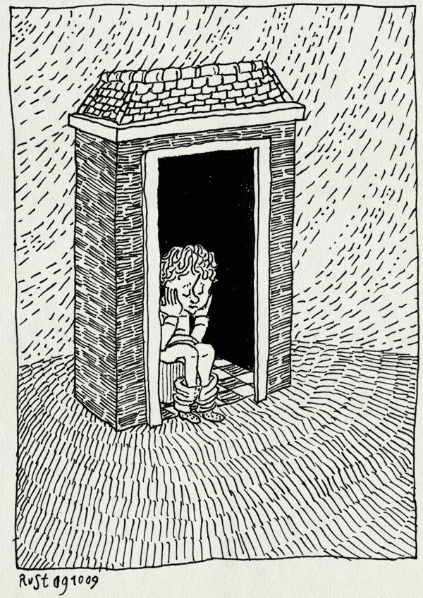 tekening 876, fantasie, house, huisje, midas, plassen, potje, rain, regen, zitten