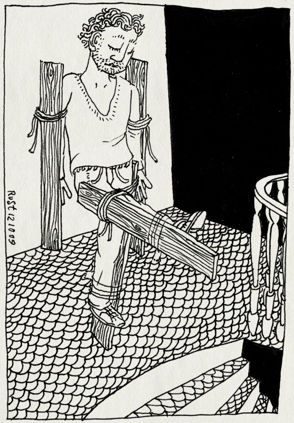 tekening 879, benen, planken, spierpijn, staircase, stairs, stijf, stram, trap