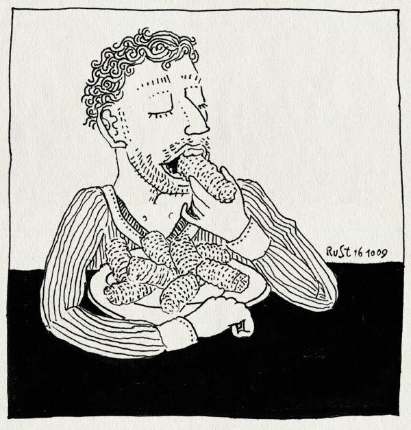 tekening 883, bord, croquetten, eten, garnasal, holtkamp, kaas, kalf, kroketten, lunch, nh49, vol, vrijdag
