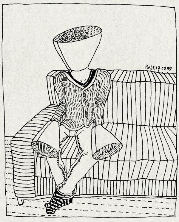 tekening 884, handen, itch, jeuk, krabben, muilkorf, nek, toeter