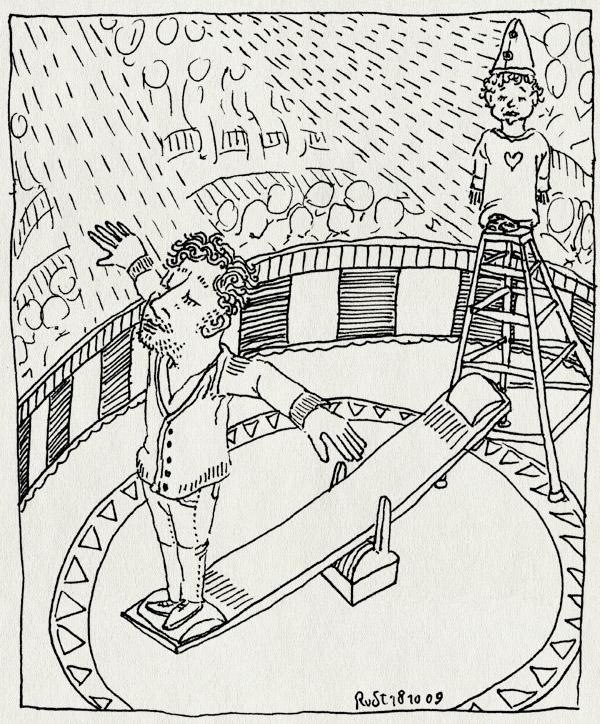 tekening 885, circus, circus herman renz, den haag, midas, piste