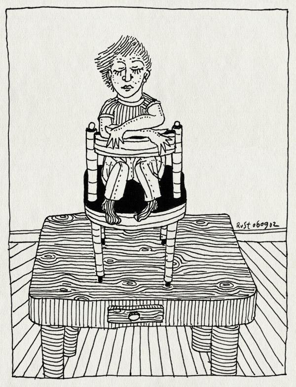 tekening 89, jongen, stoel, tafel, zitten
