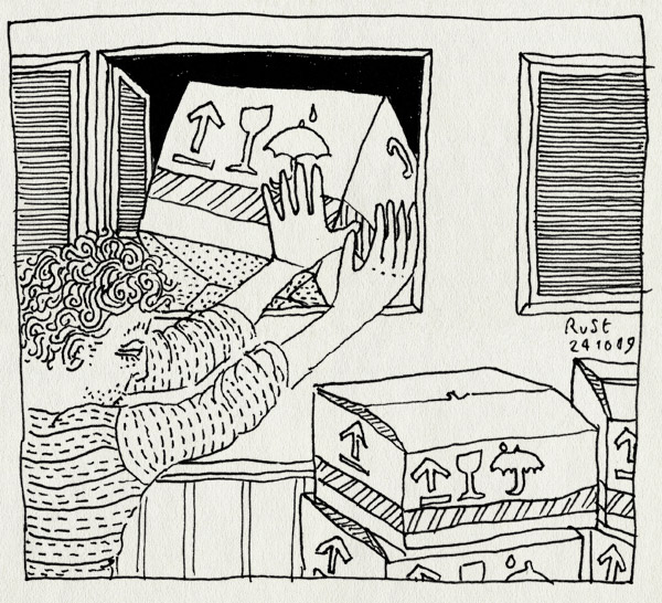 tekening 891, box, move, moving, nh59, raam, verdieping, verhuisdoos, verhuizing