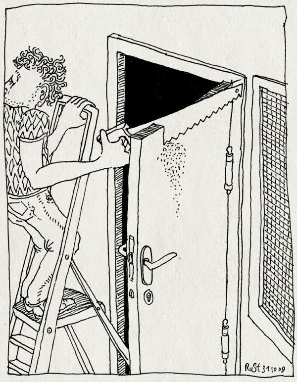 tekening 898, 4e, deur, handsaw, handzaag, improvement, klussen, ladder, nh49, saw, zaag, zaagsel