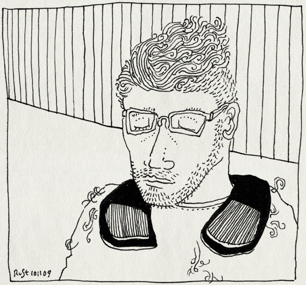 tekening 908, 50s, fifties, haar in de wind, haircut, kapper