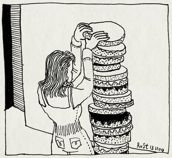 tekening 911, 10e, cake, maken, martine, stack, stapelen, taart