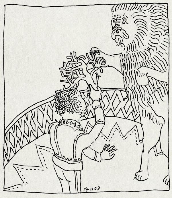 tekening 915, burorust, leeuw, renz, temmen, werk