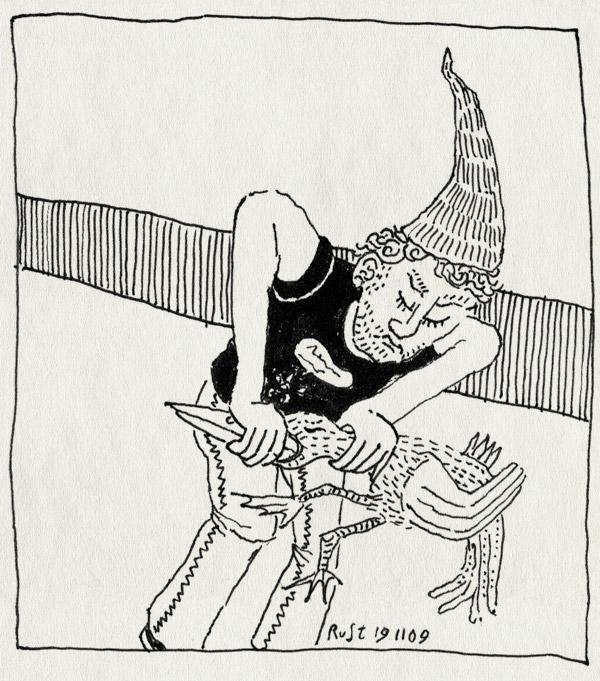 tekening 917, af, gnome, godmiljaar, kabouter wesley, puntmuts, snavel, teringlijster, uw, zie