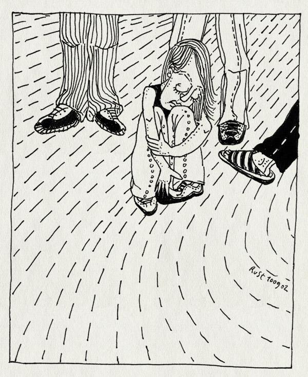 tekening 92, omgezien, ongelukkig, straat, zitten