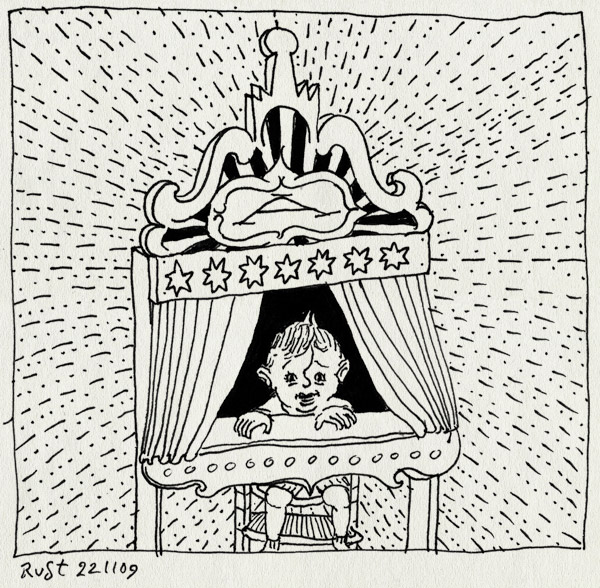 tekening 920, alwine, baby, circus, geinporum, lachen, poppenkast