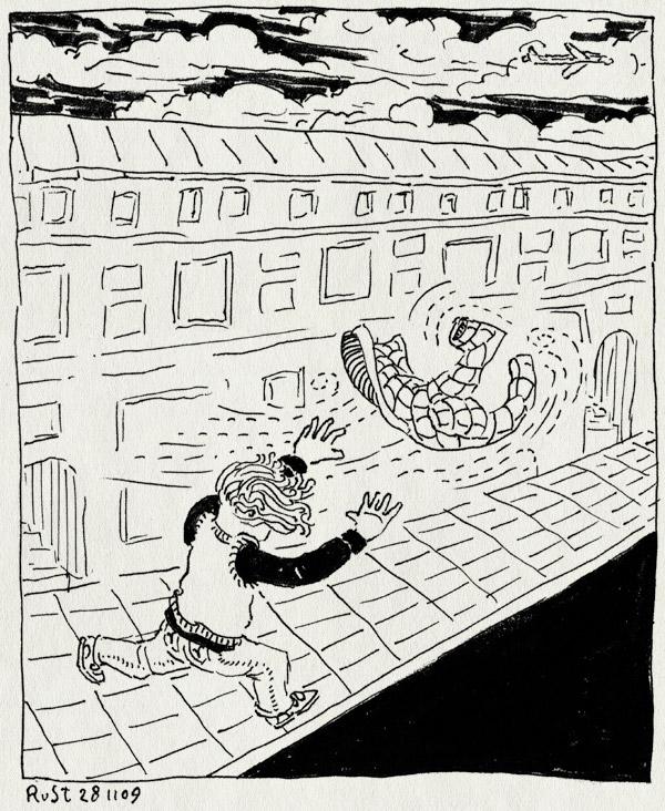 tekening 926, amsterdam, fantasie, midas, straat, verhaal, vliegtuig, wegvliegen, wind, winterjas