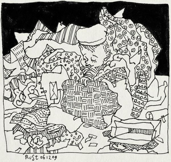 tekening 934, alwine, pakjes, pakjesavond, pakpapier, papiet, sint, sinterklaas, zwarte piet