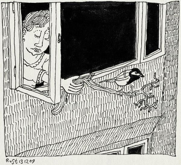 tekening 941, afscheid, koolmees, martine, oma, omi, tak, vogel, vogeltje, weg, weglate