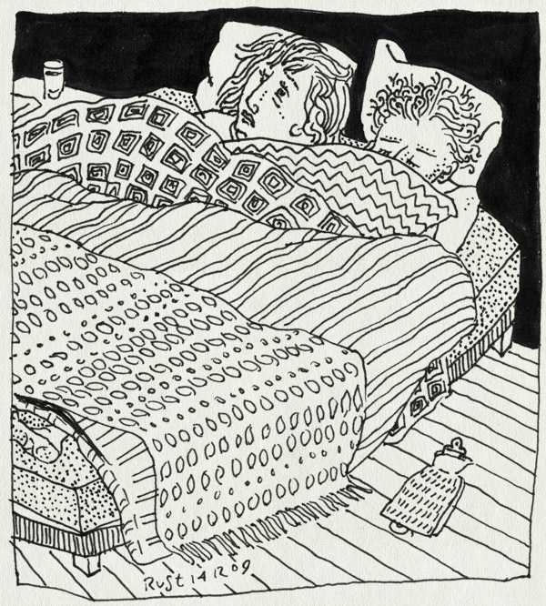tekening 942, 10e, bed, blankets, dekens, extra, insomnia, koud, martine, ogen open, slapeloos, slapeloosheid, winter