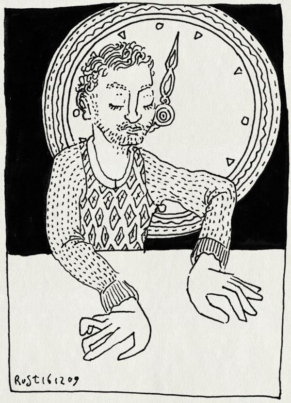 tekening 944, euthenasie, handen, klok, omi, roffelen, spelen, tijd, trommelen, trui, wachten