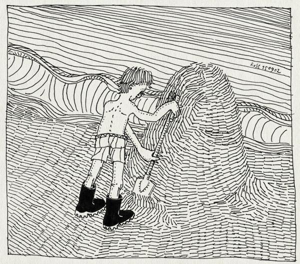 tekening 95, berg, laarzen, schep, strand, water, zand, zee