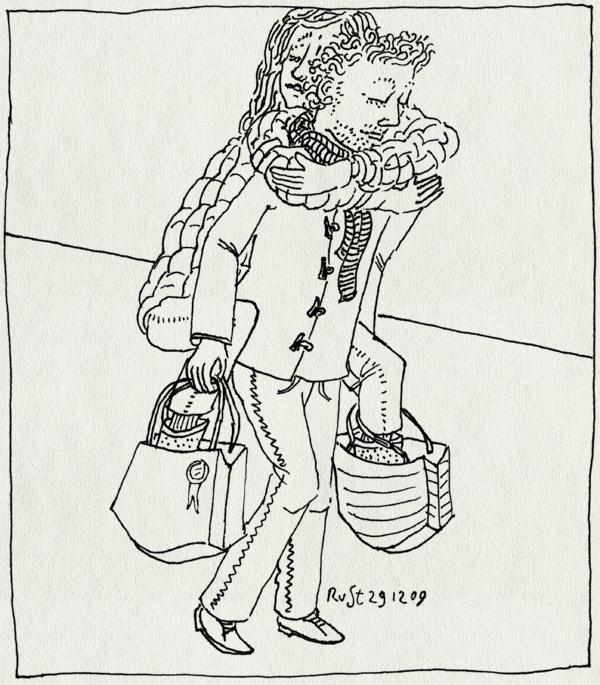 tekening 957, 10e, bags, cologne, keulen, köln, martine, op de rug, piggyback riding, shopping, shopping bags, spenderen, tassen, verbrassen