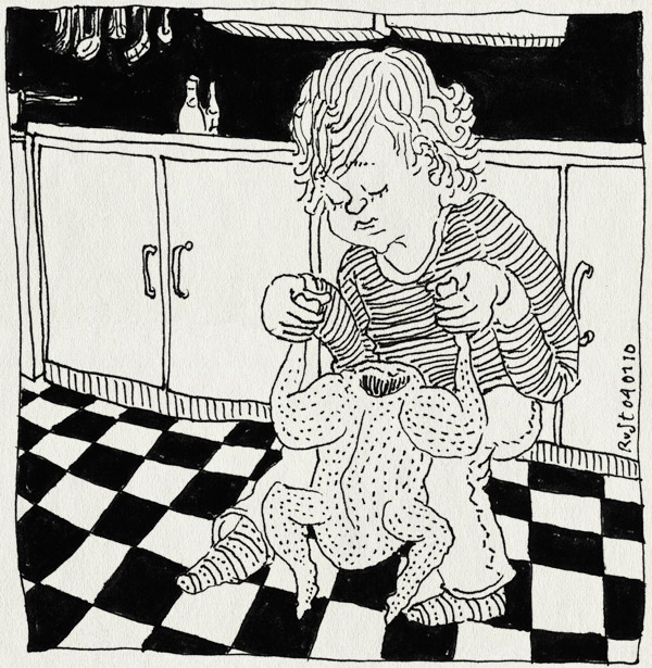 tekening 963, aanrecht, chicken, gek, keuken, kip, maasstraat, mannetje, midas, play, poppetje, spelen, tegels, tiles