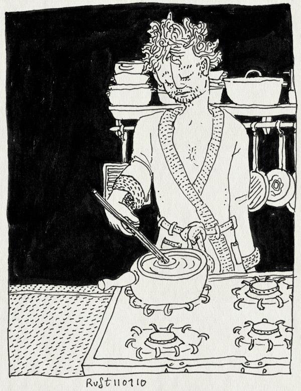 tekening 970, badjas, coock, duster, fornuis, ill, kaasfondue, koken, morsig, ochtendjas, roeren, stir, ziek