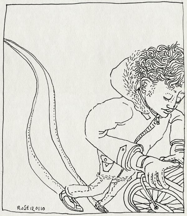 tekening 971, bicycle, bike, fiets, fun, glijden, slepen, sneeuw, snow, spoor