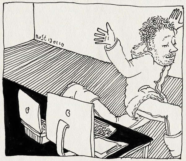 tekening 972, burorust, ijsvrij, rennen, waaah, weg, werk