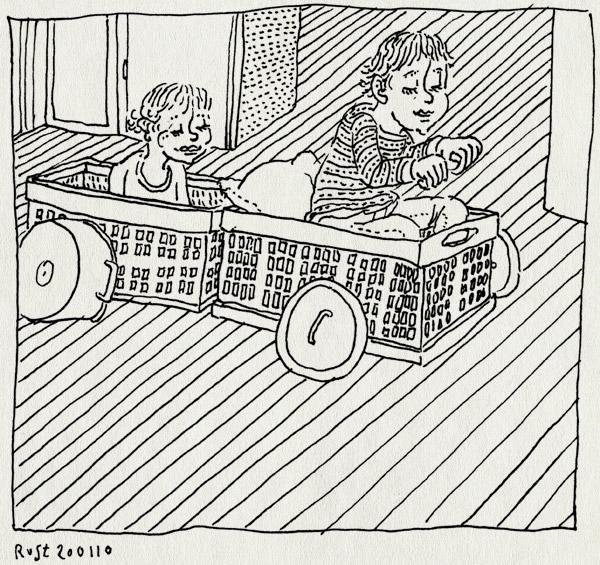 tekening 979, ah, alwine, kratje, kratjes, midas, pandeksel, pannen, spelen, trein, treintje, woonkamer