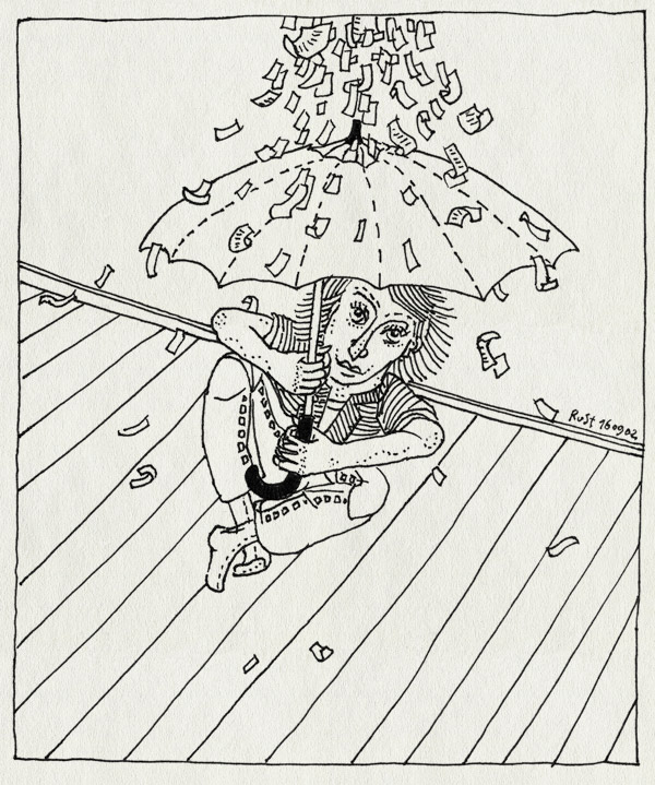 tekening 98, nostalgie, paraplu, regenfeest, snippers, vroeger