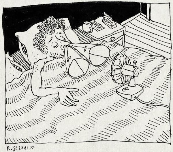 tekening 981, bed, cold, deken, neus, van, ventilator, verkouden, verstopte