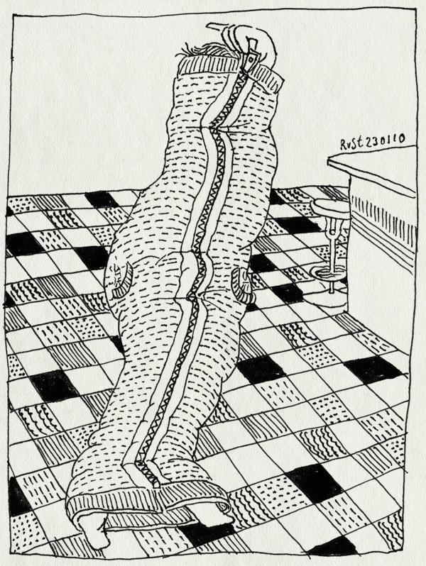 tekening 982, 10e, blutgeschwister, coat, hangout, jas, martine, nieuwe jas, tegels, tiles, vrienden, witteveen, zaterdagochtend