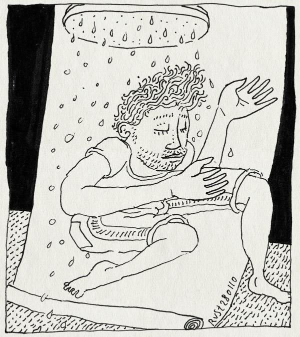 tekening 987, arjan benning, fotoshoot, fwf, regen, springen, water