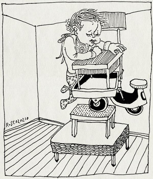 tekening 992, alpiniste, alwine, chair, climb, klimmen, poef, slab, stoel, table, tafel