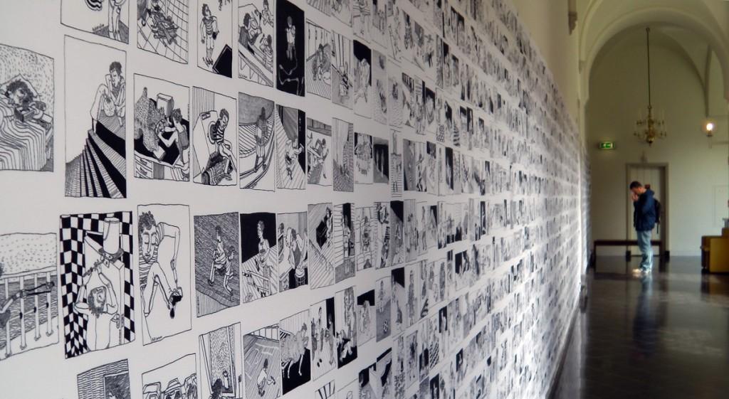 tekening tentoonstellingswand in Haarlem, 2014, expositie, filmpje, haarlem, stripdagen, tentoonstelling, wand