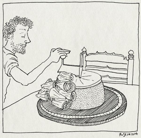 tekening 2699, cadeautje, kaas, kaaskrullen, kaaskruller, krullen