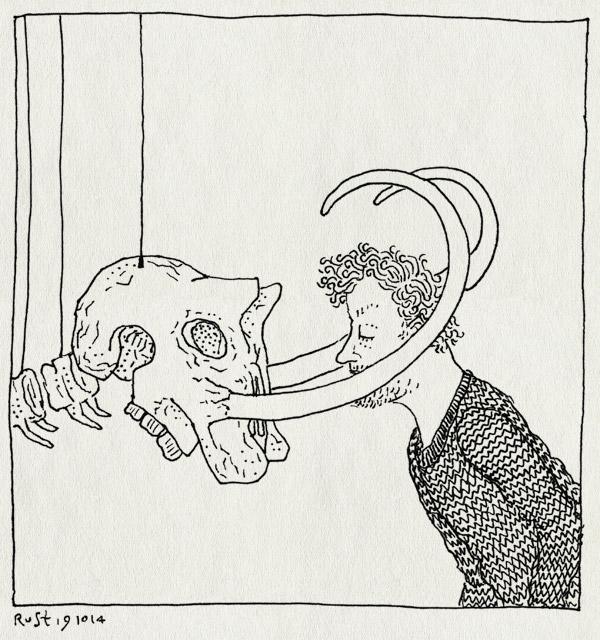 tekening 2704, dinosaurus, leiden, mammoet, naturalis, schedel, skelet, slagtanden