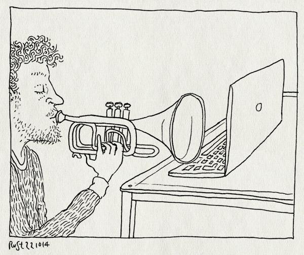 tekening 2707, laptop, nbe, nederlands blazers ensemble, toeteren, trompet, werk