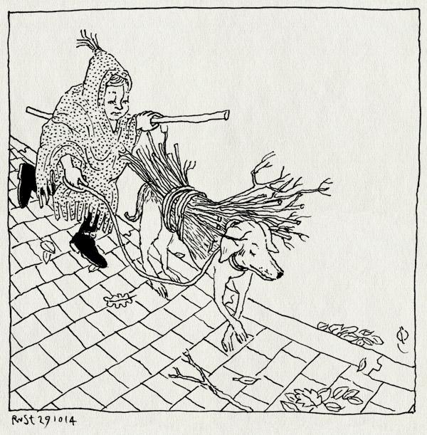 tekening 2714, alwine, bezem, bezemsteel, halloween, heks, hond, lois, pakezel, poncho, takken, uitlaten, zoeken