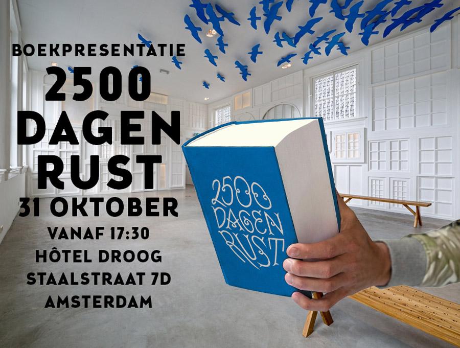tekening voorbereiding boekpresentatie '2500 dagen RuSt', 2500dagenrust, boek, droog, presentatie