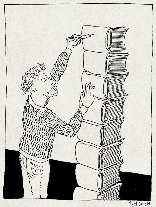 tekening 2715, 2500dagenrust, boek, dikste boek, onmogelijk boek, signeren, stapel