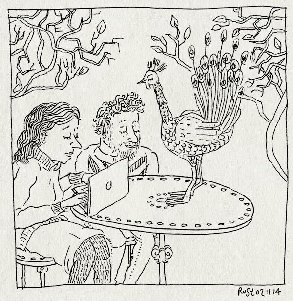 tekening 2718, artis, artis ateliers, herfst, martine, pauw, plog, tafeltje, vogel, werken