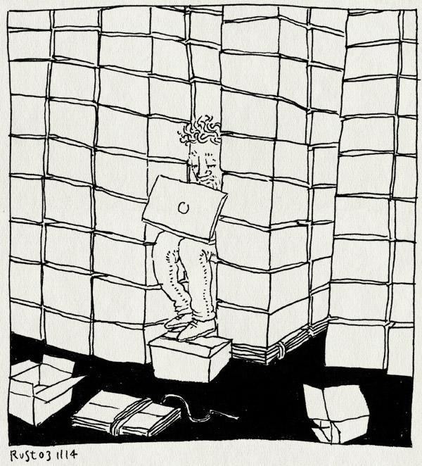 tekening 2719, 2500dagenrust, boeken, dozen, elschot, kaas, macbook, opslag, stock, vol, werk