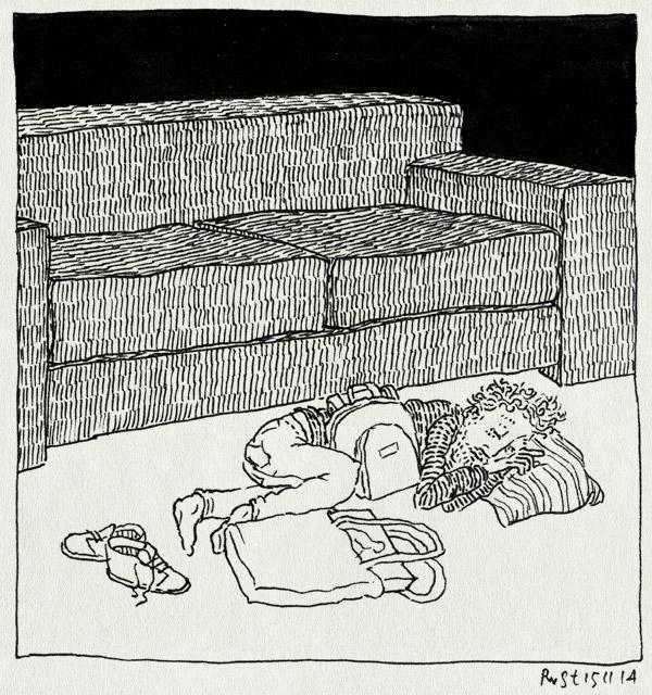 tekening 2731, af, afgepeigerd, bank, grond, klaar, moe, niks, rust, slaap