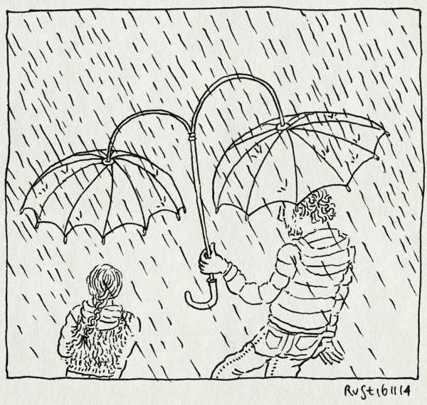 tekening 2732, alwine, duoparaplu, duoplu, paraplu, regen, uitvinding, wandelen