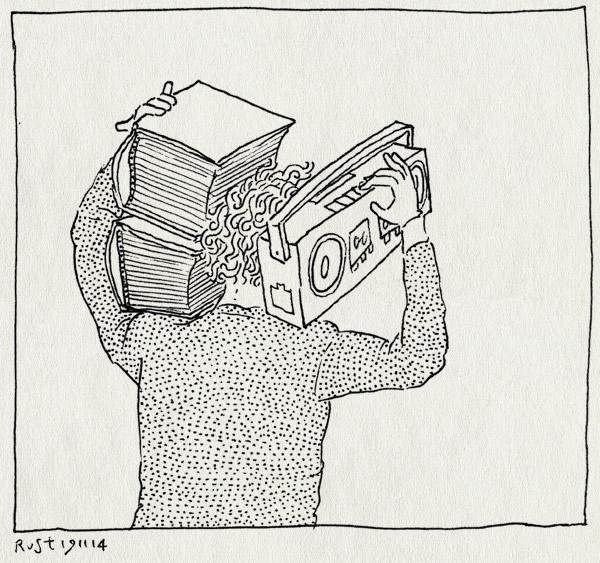 tekening 2735, 2500dagenrust, boek, gettoblaster, obalive, radio, theodor holman, tillen