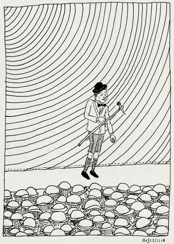 tekening 2737, animatie, bolhoed, korte broek, marcel, michel, publiek, stromae, ziggo dome