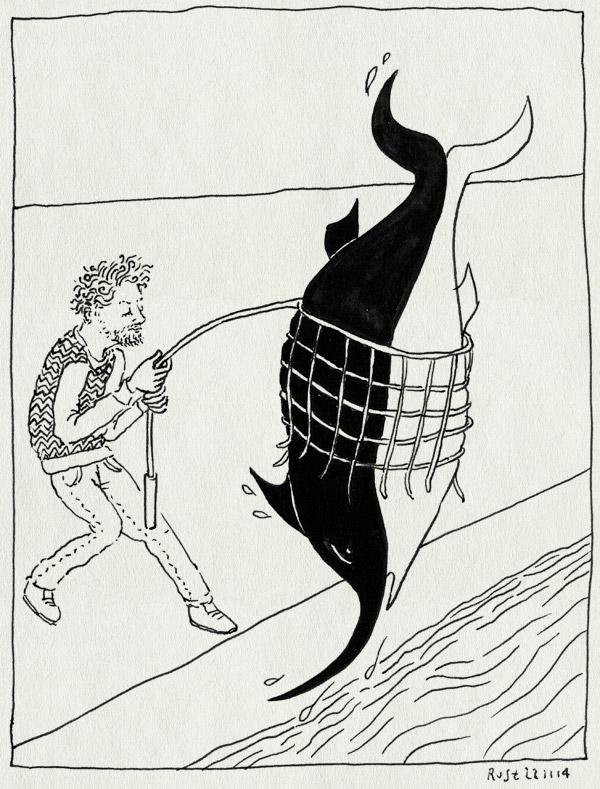 tekening 2738, net, ontsnapping, swordfish and friend, utrecht, vangen, vangnet, winkel, zwaardvis