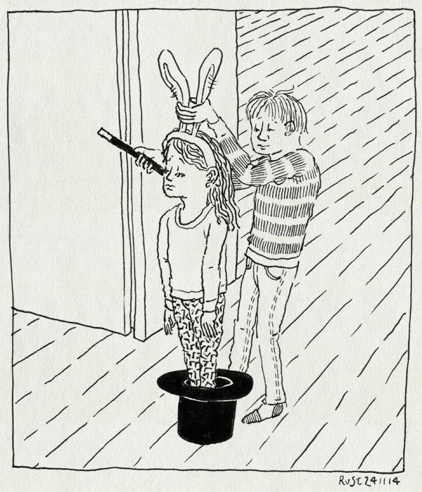 tekening 2740, alwine, diadeem, goochelaar, goochelen, goocheltruc, hoge hoed, konijn, maasstraat, midas, toverstokje, voorstelling