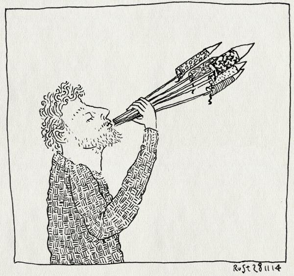 tekening 2744, blazen, mond, nbe, ontwerp, schieten, vuurpijl, vuurpijlen, vuurwerk, werk