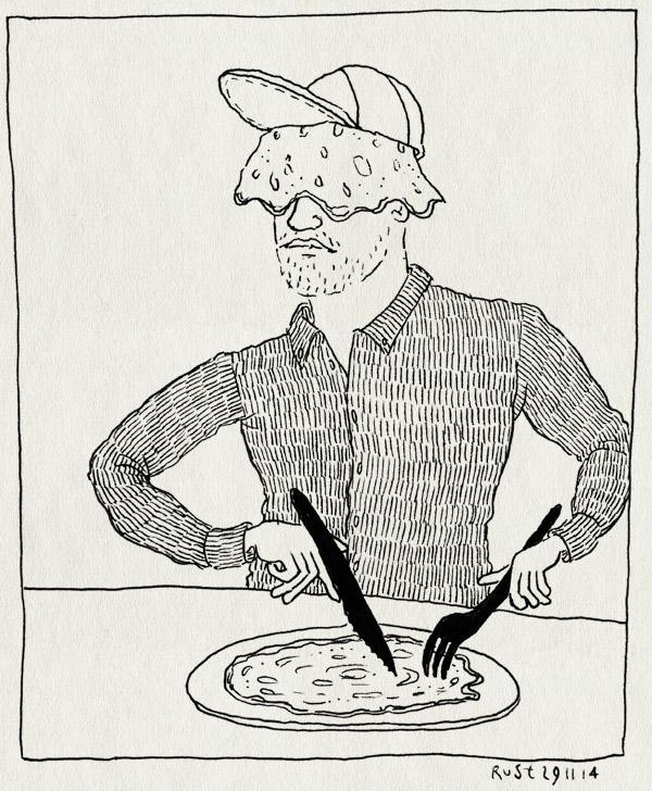 tekening 2745, bedekt, hoofd, joost, matijn, pannenkoek, petje, sint pannenkoek, snijden