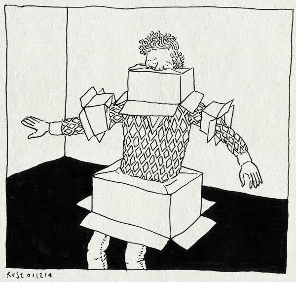 tekening 2747, 2500dagenrust, boxed, doos, dozen, druk, inpakken, versturen, verzenden