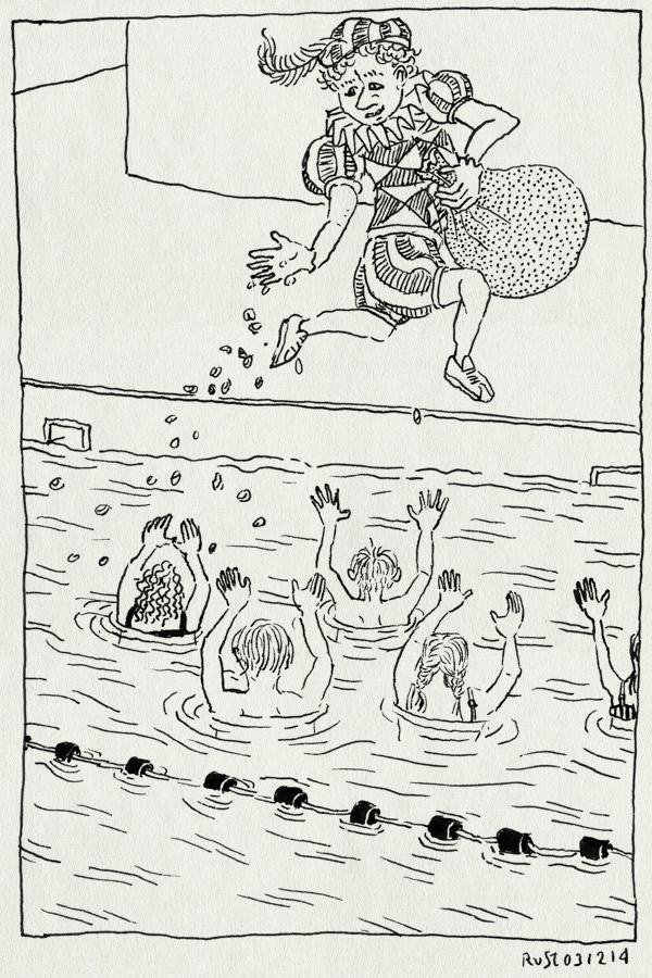 tekening 2749, alwine, de mirandabad, midas, pepernoten, piet, sinterklaas, strooien, water, zwarte piet, zwembad, zwemles